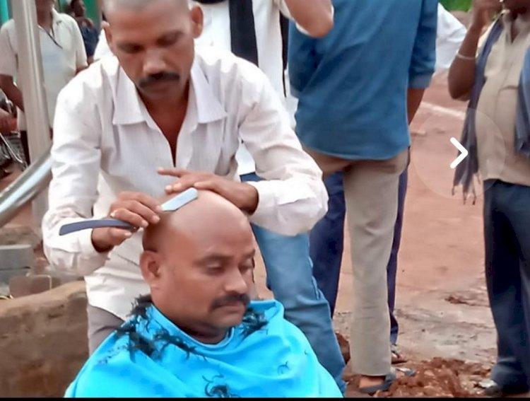 भारतीय जनता पार्टी से निष्कासन के बाद नगर पंचायत उपाध्यक्ष ने कराया मुंडन....